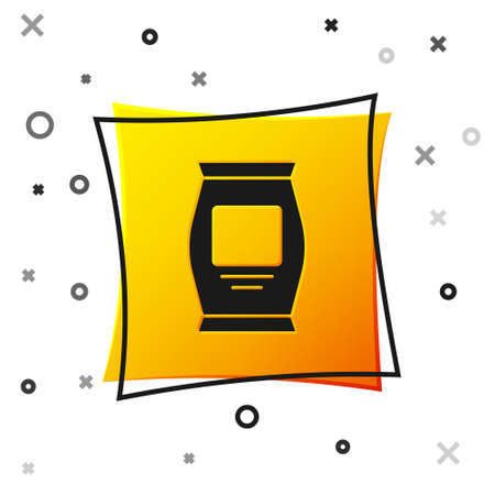 Black Fertilizer bag icon isolated on white background. Yellow square button. Vector. Ilustração
