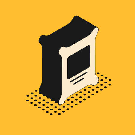 Isometric Fertilizer bag icon isolated on yellow background. Vector.