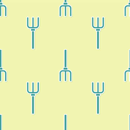 Green Garden pitchfork icon isolated seamless pattern on yellow background. Garden fork sign. Tool for horticulture, agriculture, farming. Vector.