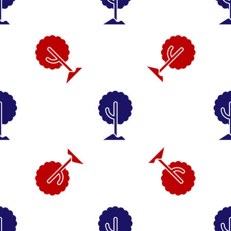 Blue and red Tree icon isolated seamless pattern on white background. Forest symbol. Vector. Ilustracja