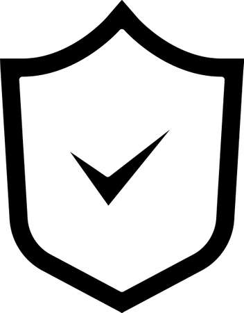Black Shield with check mark icon isolated on white background. Security, safety, protection, privacy concept. Tick mark approved. Vector. 일러스트