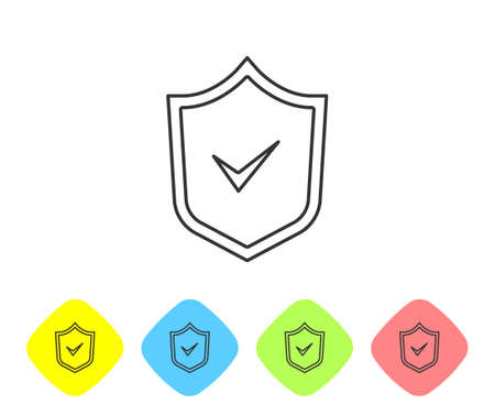 Grey line Shield with check mark icon isolated on white background. Security, safety, protection, privacy concept. Tick mark approved. Set icons in color rhombus buttons. Vector.