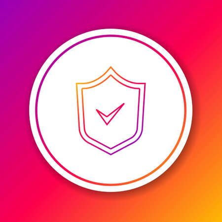 Color line Shield with check mark icon isolated on color background. Security, safety, protection, privacy concept. Tick mark approved. Circle white button. Vector.