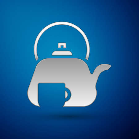 Silver Traditional tea ceremony icon isolated on blue background. Teapot with cup. Vector. Illusztráció