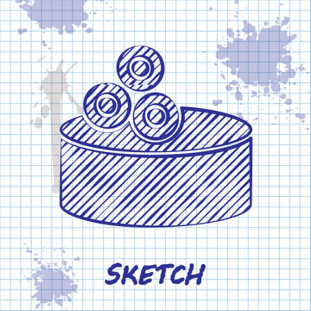 Sketch line Tin can with caviar icon isolated on white background. Vector..