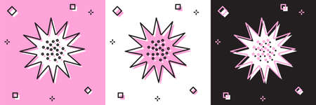 Set Sea urchin icon isolated on pink and white, black background. Vector..