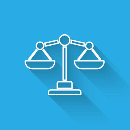 White line Scales of justice icon isolated with long shadow. Court of law symbol. Balance scale sign. Vector..