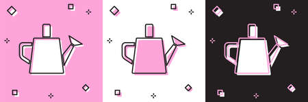 Set Watering can icon isolated on pink and white, black background. Irrigation symbol. Vector. 일러스트