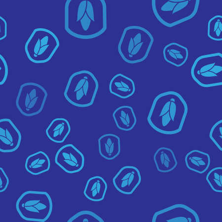Blue Shield corn icon isolated seamless pattern on blue background. Security, safety, protection, privacy concept. Vector.