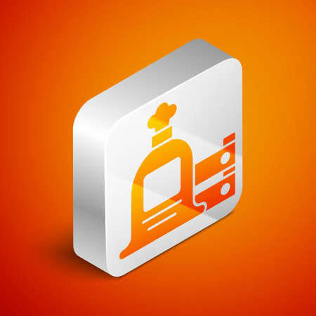 Isometric Full sack and wooden box icon isolated on orange background. Silver square button. Vector. 일러스트