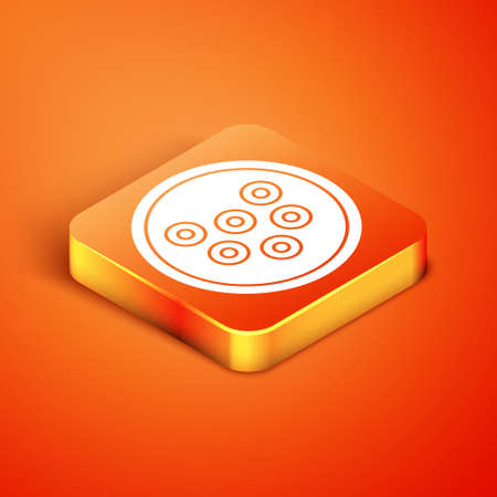 Isometric Caviar on a plate icon isolated on orange background. Vector.. Çizim