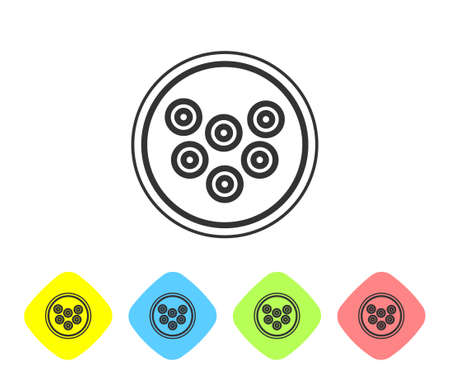 Grey line Caviar on a plate icon isolated on white background. Set icons in color rhombus buttons. Vector..