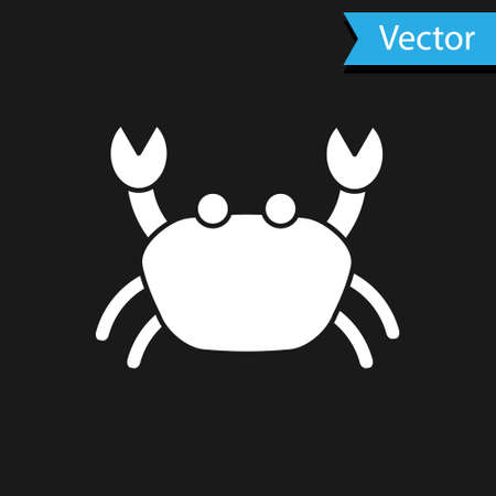 White Crab icon isolated on black background. Vector..