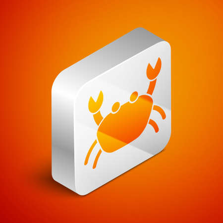 Isometric Crab icon isolated on orange background. Silver square button. Vector..