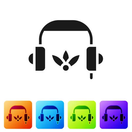 Black Headphones for meditation icon isolated on white background. Set icons in color square buttons. Vector