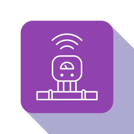 White line Smart sensor system icon isolated on white background. Internet of things concept with wireless connection. Purple square button. Vector.