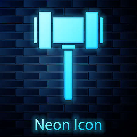 Glowing neon Judge gavel icon isolated on brick wall background. Gavel for adjudication of sentences and bills, court, justice. Auction hammer. Vector.