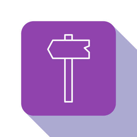 White line Road traffic sign. Signpost icon isolated on white background. Pointer symbol. Isolated street information sign. Direction sign. Purple square button. Vector.