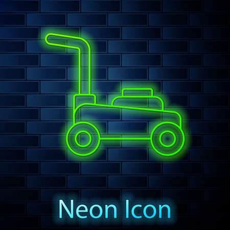 Glowing neon line Lawn mower icon isolated on brick wall background. Lawn mower cutting grass. Vector.