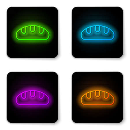 Glowing neon line Bread loaf icon isolated on white background. Black square button. Vector.