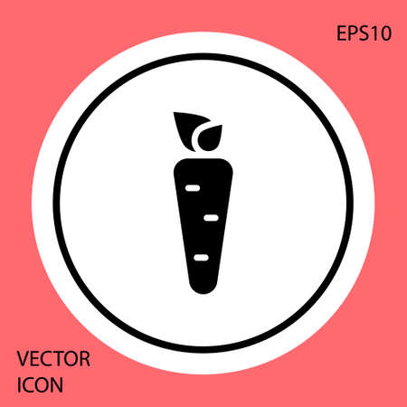 Black Carrot icon isolated on red background. White circle button. Vector Ilustracja