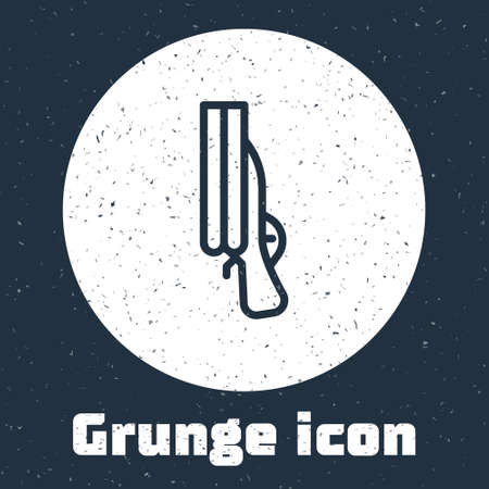 Grunge line Shotgun icon isolated on grey background. Hunting gun. Monochrome vintage drawing. Vector