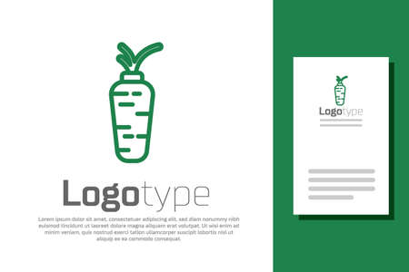 Green line Carrot icon isolated on white background. Logo design template element. Vector.