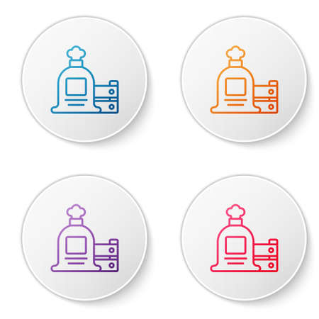 Color line Full sack and wooden box icon isolated on white background. Set icons in circle buttons. Vector.