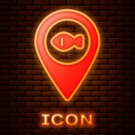 Glowing neon Location fishing icon isolated on brick wall background. Fishing place. Vector.