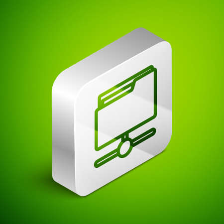 Isometric line FTP folder icon isolated on green background. Software update, transfer protocol, router, teamwork tool management, copy process, info. Silver square button. Vector
