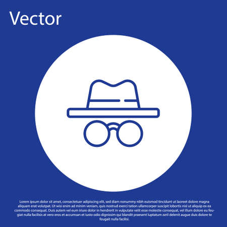 Blue line Incognito mode icon isolated on blue background. White circle button. Vector