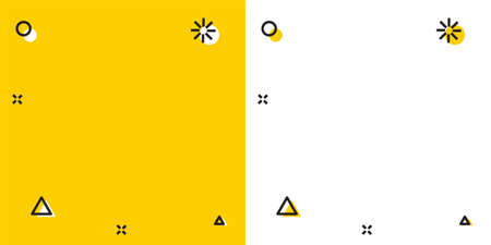 Black Credit card with shield icon isolated on yellow and white background. Online payment. Cash withdrawal. Financial operations. Shopping sign. Random dynamic shapes. Vector. Ilustração