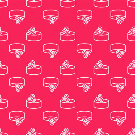 White line Tin can with caviar icon isolated seamless pattern on red background. Vector..