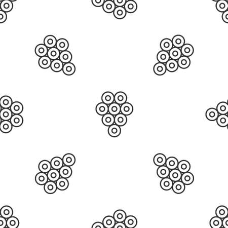 Grey line Caviar icon isolated seamless pattern on white background. Vector..