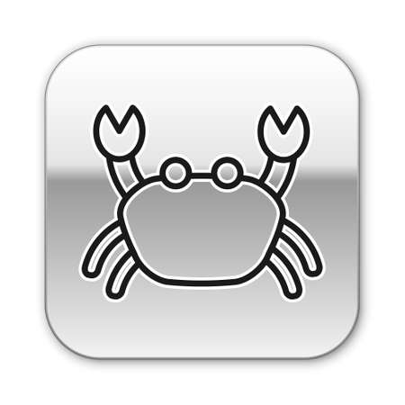 Black line Crab icon isolated on white background. Silver square button. Vector..