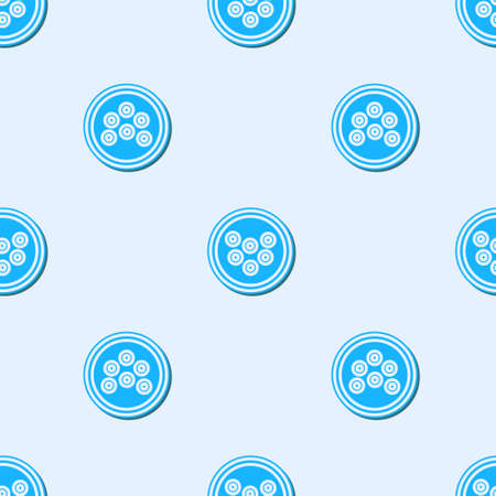 Blue line Caviar on a plate icon isolated seamless pattern on grey background. Vector.. Çizim