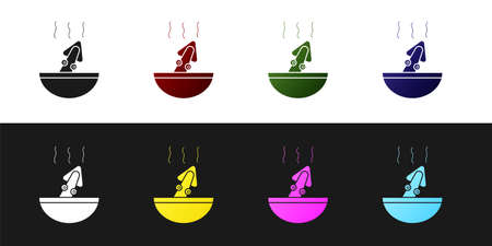 Set Soup with octopus icon isolated on black and white background. Vector..