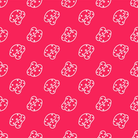 White line Potato icon isolated seamless pattern on red background. Vector.