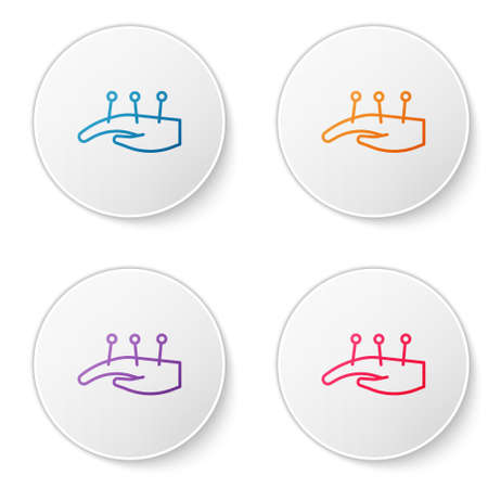 Color line Acupuncture therapy on the hand icon isolated on white background. Chinese medicine. Holistic pain management treatments. Set icons in circle buttons. Vector.