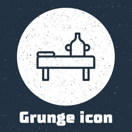 Grunge line Massage table with oil icon isolated on grey background. Monochrome vintage drawing. Vector.