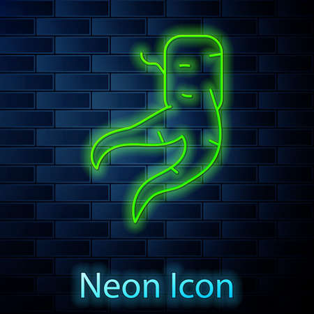 Glowing neon line Ginger root icon isolated on brick wall background. Vector.