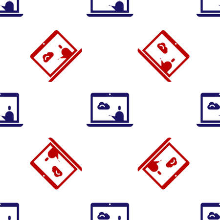 Blue and red Weather forecast icon isolated seamless pattern on white background.  Vector Illustration. Vettoriali