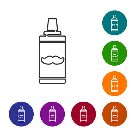 Black line Shaving gel foam icon isolated on white background. Shaving cream. Set icons in color circle buttons. Vector Illustration.