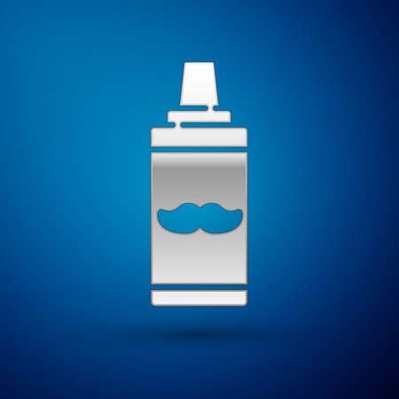 Silver Shaving gel foam icon isolated on blue background. Shaving cream. Vector Illustration. 일러스트