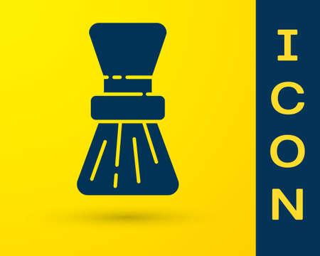 Blue Shaving brush icon isolated on yellow background. Barbershop symbol. Vector Illustration.