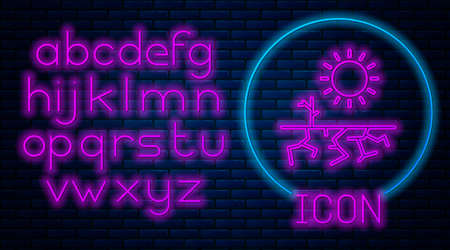 Glowing neon Drought icon isolated on brick wall background. Neon light alphabet. Vector Illustration.