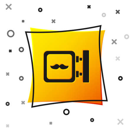 Black Barbershop icon isolated on white background. Hairdresser  signboard. Yellow square button. Vector Illustration.