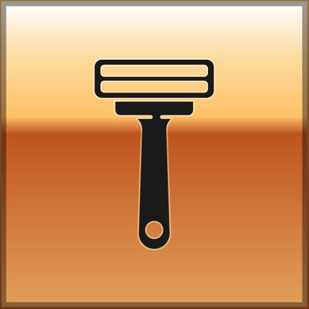 Black Shaving razor icon isolated on gold background. Vector Illustration. 矢量图像