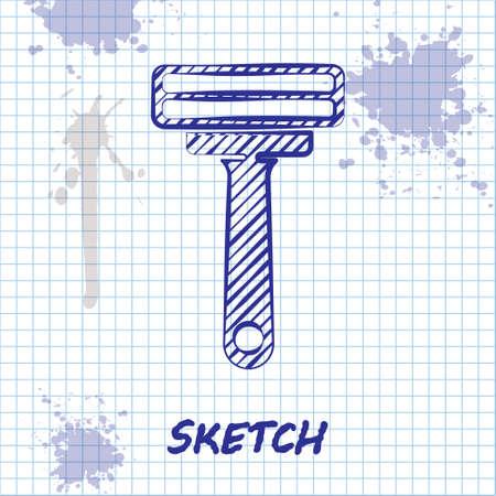 Sketch line Shaving razor icon isolated on white background. Vector Illustration.