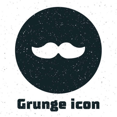 Grunge Mustache icon isolated on white background. Barbershop symbol. Facial hair style. Monochrome vintage drawing. Vector Illustration.